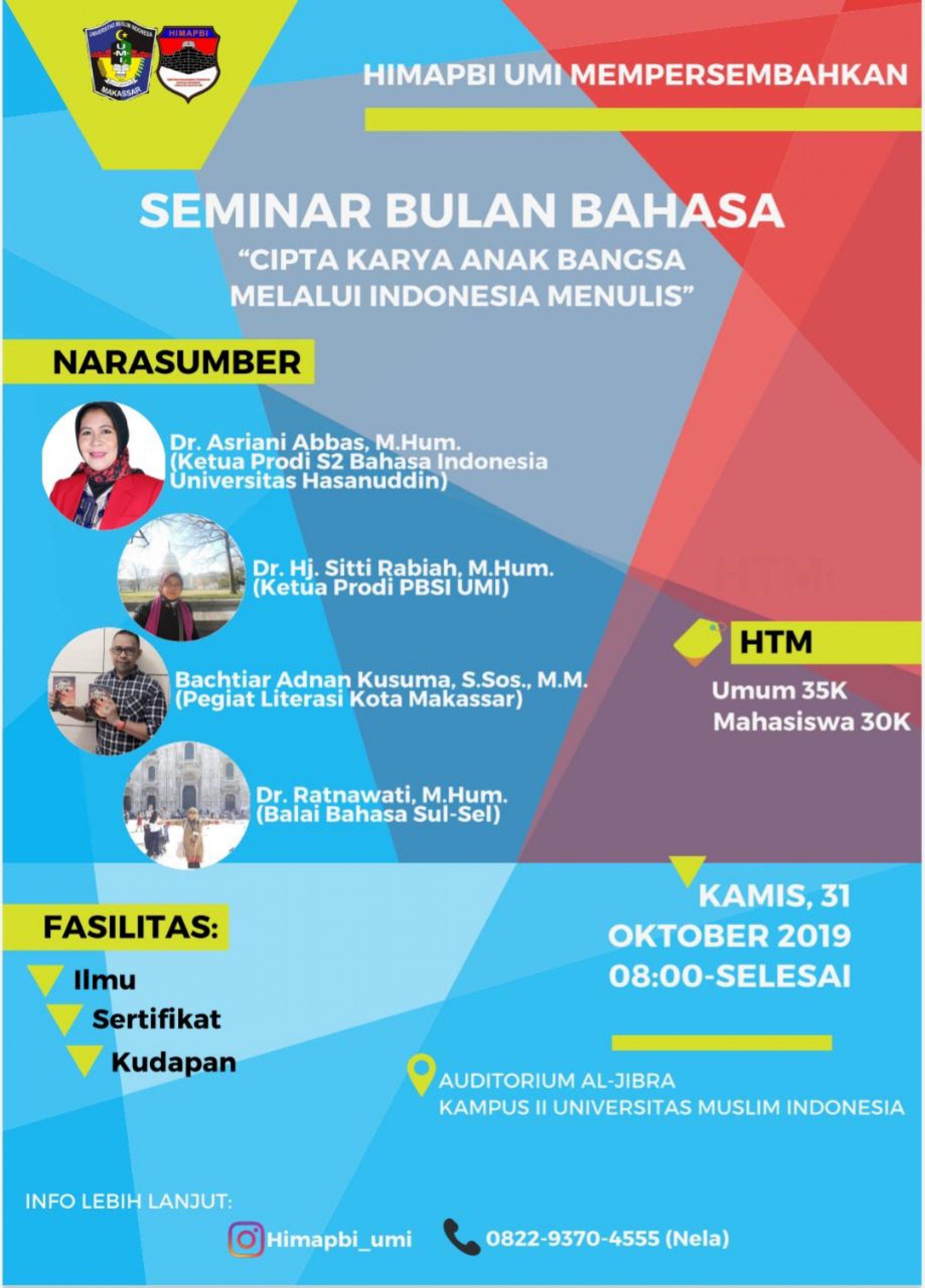 Seminar Bulan Bahasa dan Lomba Karya Tulis Ilmiah 2019